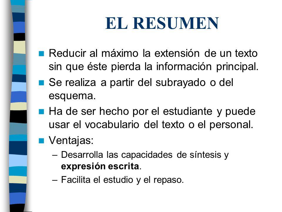 EL RESUMEN Reducir al máximo la extensión de un texto sin que éste pierda la información principal. Se realiza a partir del subrayado o del esquema. H