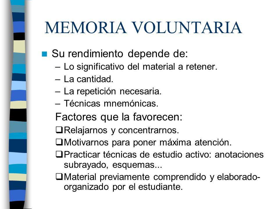 MEMORIA VOLUNTARIA Su rendimiento depende de: –Lo significativo del material a retener. –La cantidad. –La repetición necesaria. –Técnicas mnemónicas.