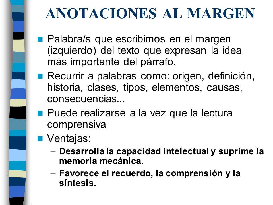 ANOTACIONES AL MARGEN Palabra/s que escribimos en el margen (izquierdo) del texto que expresan la idea más importante del párrafo. Recurrir a palabras