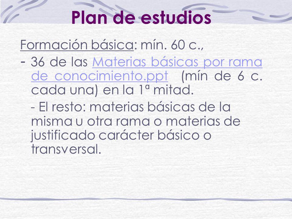 Plan de estudios Formación básica: mín. 60 c., - 36 de las Materias básicas por rama de conocimiento.ppt (mín de 6 c. cada una) en la 1ª mitad.Materia