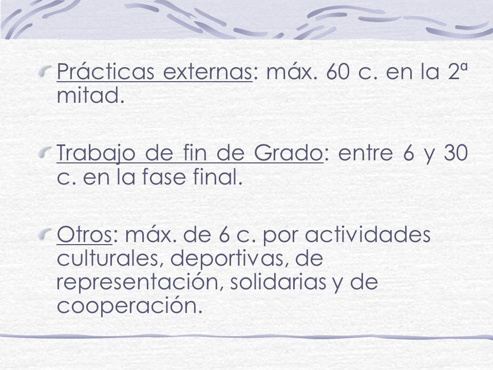 Prácticas externas: máx. 60 c. en la 2ª mitad. Trabajo de fin de Grado: entre 6 y 30 c. en la fase final. Otros: máx. de 6 c. por actividades cultural