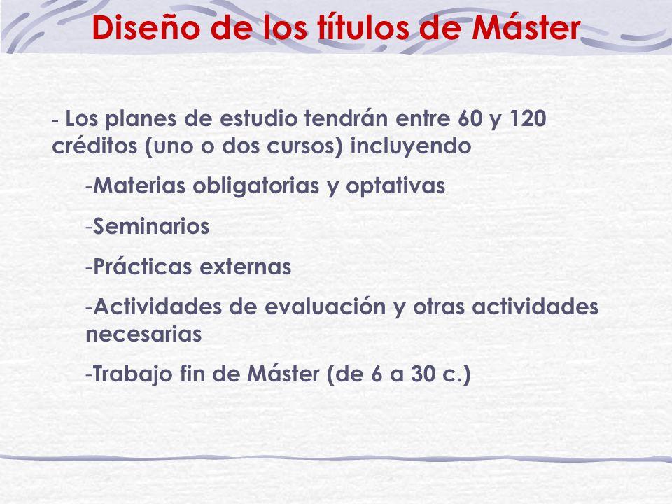 Diseño de los títulos de Máster - Los planes de estudio tendrán entre 60 y 120 créditos (uno o dos cursos) incluyendo - Materias obligatorias y optativas - Seminarios - Prácticas externas - Actividades de evaluación y otras actividades necesarias - Trabajo fin de Máster (de 6 a 30 c.)