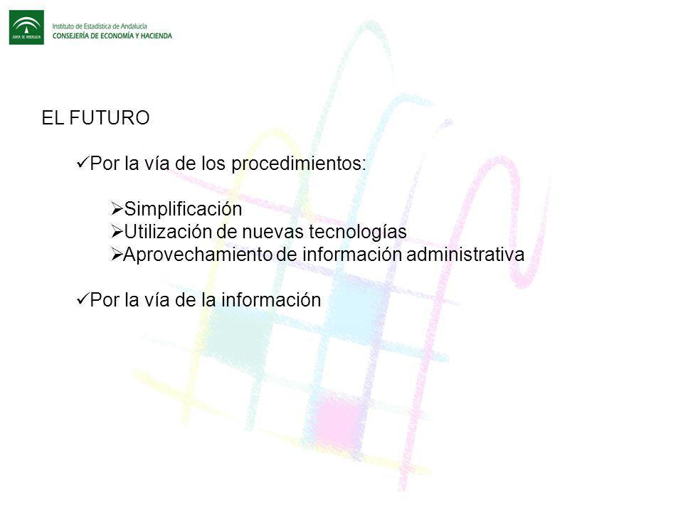 EL FUTURO Por la vía de los procedimientos: Simplificación Utilización de nuevas tecnologías Aprovechamiento de información administrativa Por la vía