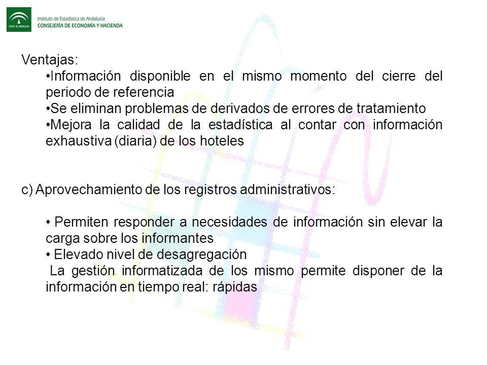 Ventajas: Información disponible en el mismo momento del cierre del periodo de referencia Se eliminan problemas de derivados de errores de tratamiento