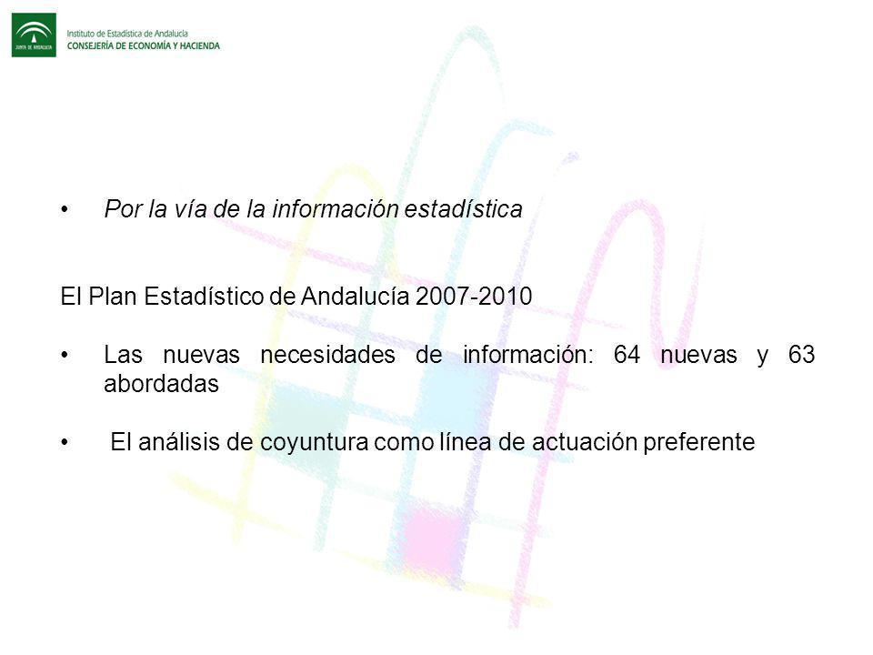 Por la vía de la información estadística El Plan Estadístico de Andalucía 2007-2010 Las nuevas necesidades de información: 64 nuevas y 63 abordadas El