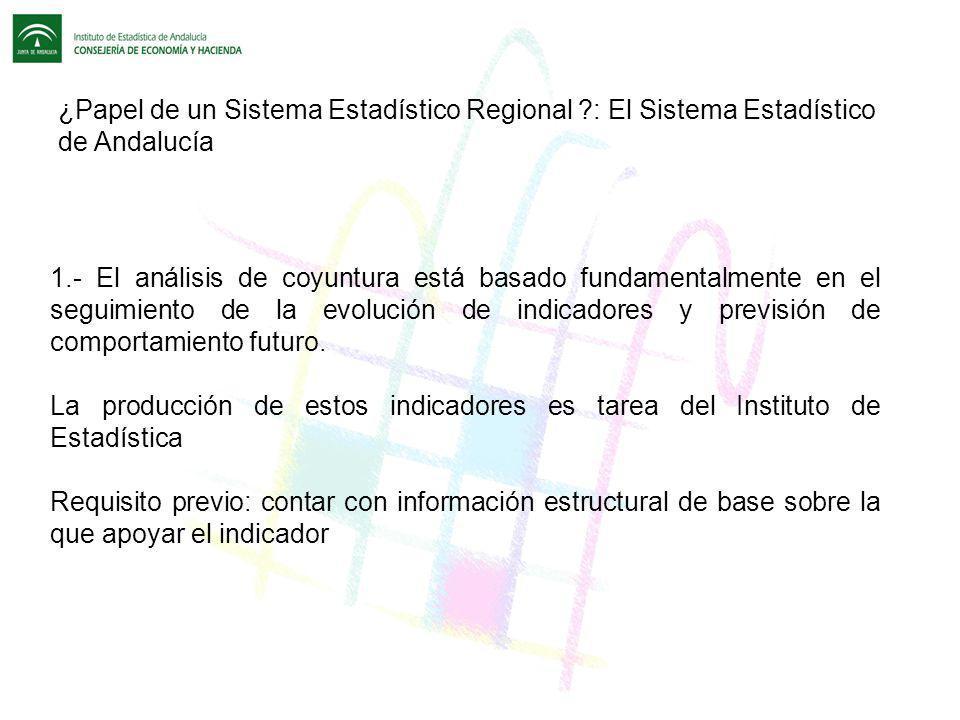 ¿Papel de un Sistema Estadístico Regional ?: El Sistema Estadístico de Andalucía 1.- El análisis de coyuntura está basado fundamentalmente en el segui