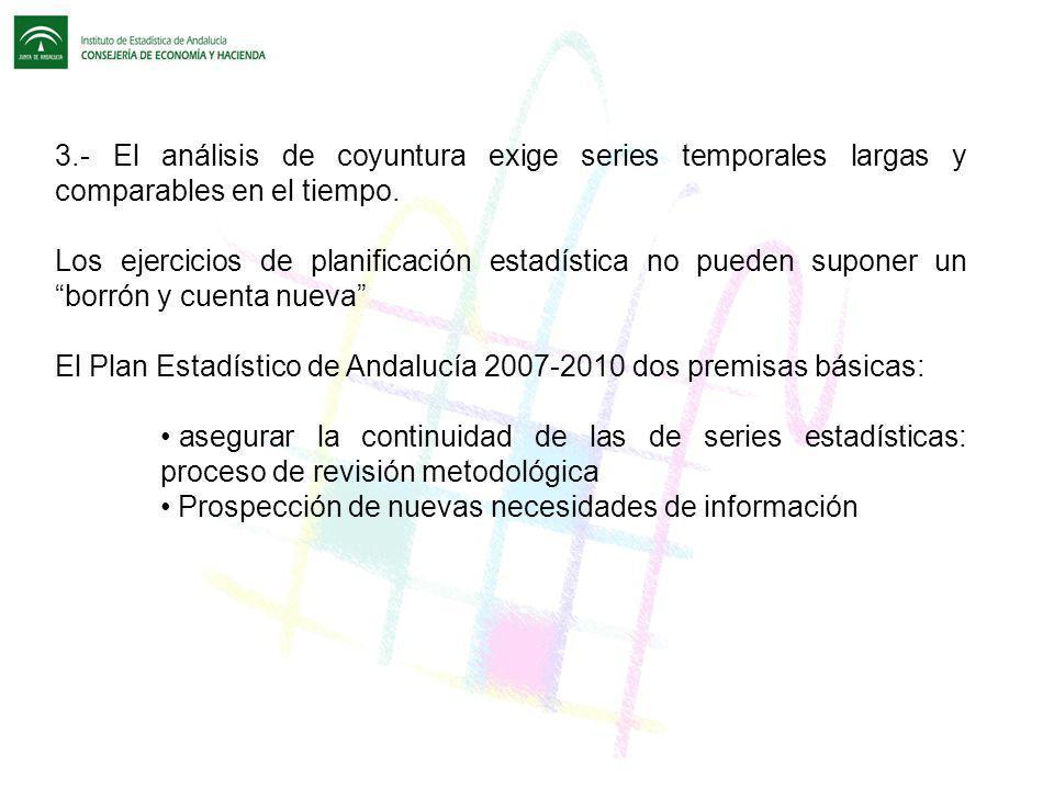 3.- El análisis de coyuntura exige series temporales largas y comparables en el tiempo. Los ejercicios de planificación estadística no pueden suponer