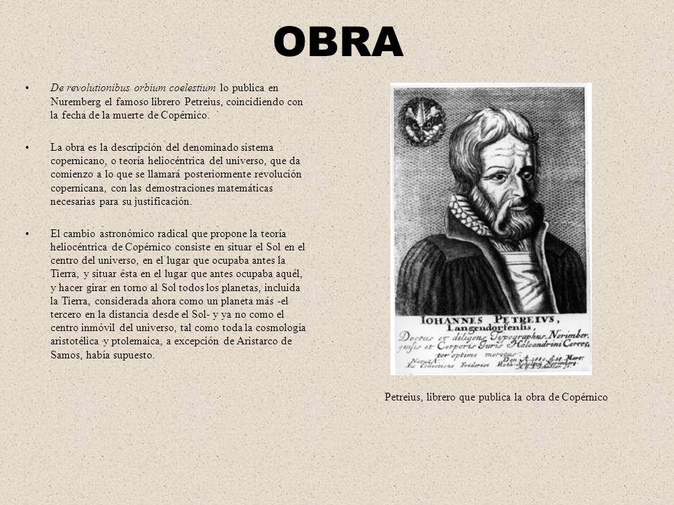 OBRA De revolutionibus orbium coelestium lo publica en Nuremberg el famoso librero Petreius, coincidiendo con la fecha de la muerte de Copérnico. La o