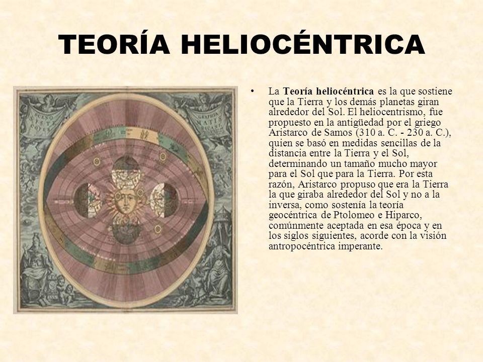 TEORÍA HELIOCÉNTRICA La Teoría heliocéntrica es la que sostiene que la Tierra y los demás planetas giran alrededor del Sol. El heliocentrismo, fue pro