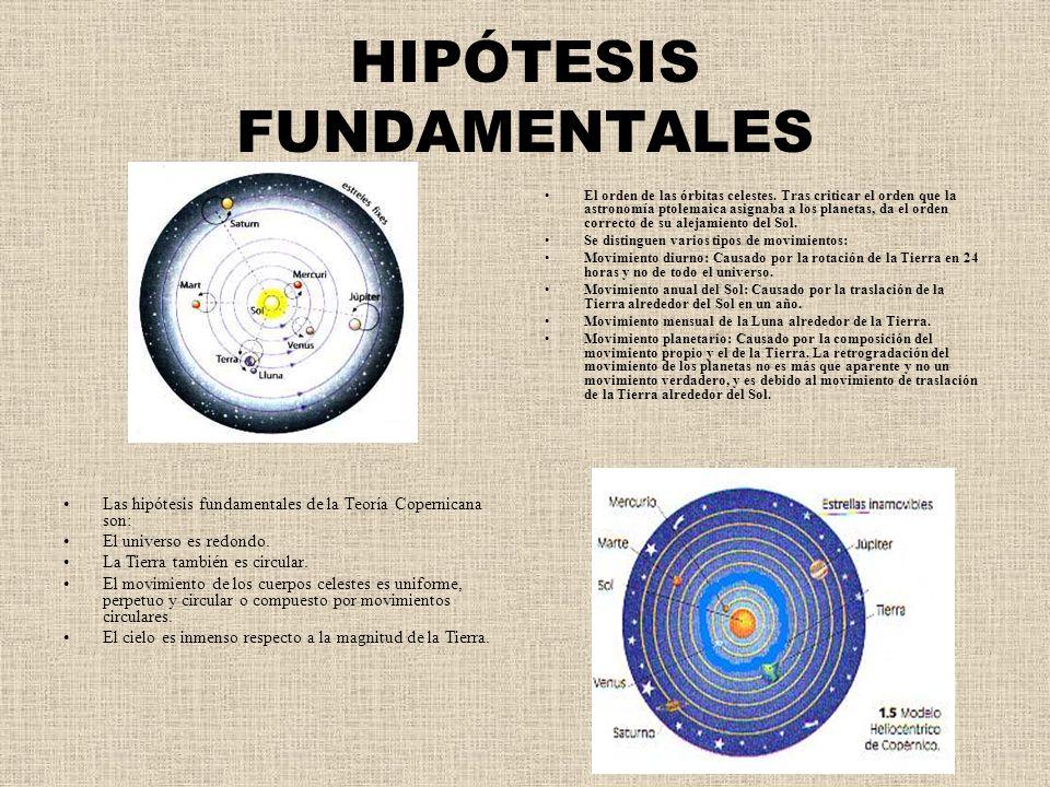 HIPÓTESIS FUNDAMENTALES Las hipótesis fundamentales de la Teoría Copernicana son: El universo es redondo. La Tierra también es circular. El movimiento