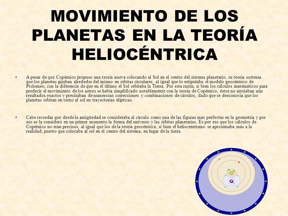 MOVIMIENTO DE LOS PLANETAS EN LA TEORÍA HELIOCÉNTRICA A pesar de que Copérnico propuso una teoría nueva colocando al Sol en el centro del sistema plan