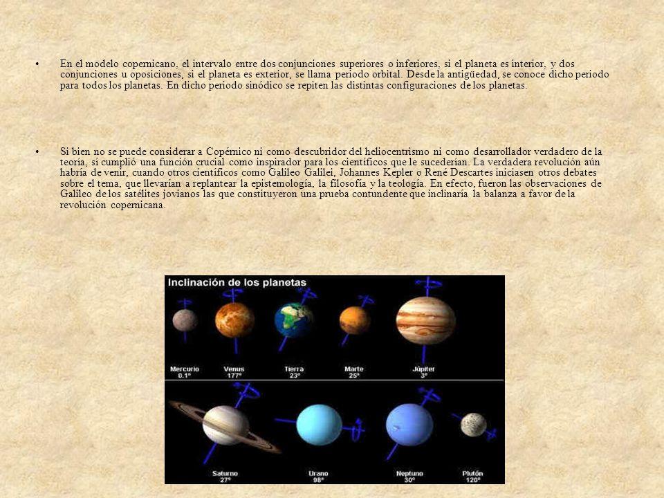 En el modelo copernicano, el intervalo entre dos conjunciones superiores o inferiores, si el planeta es interior, y dos conjunciones u oposiciones, si