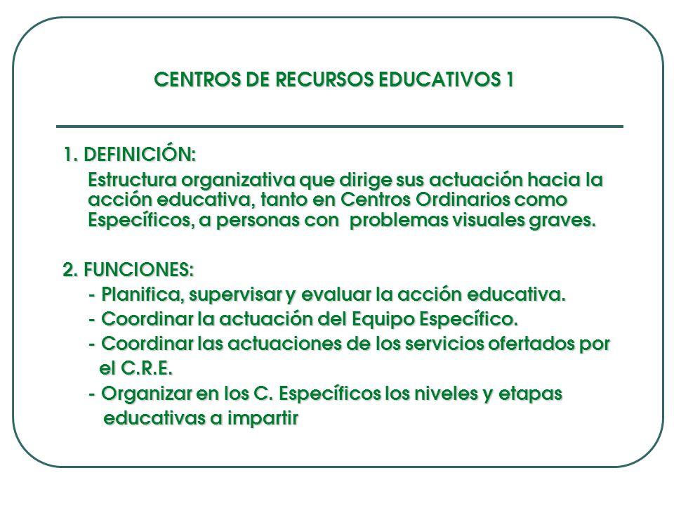 CENTROS DE RECURSOS EDUCATIVOS 1 1.