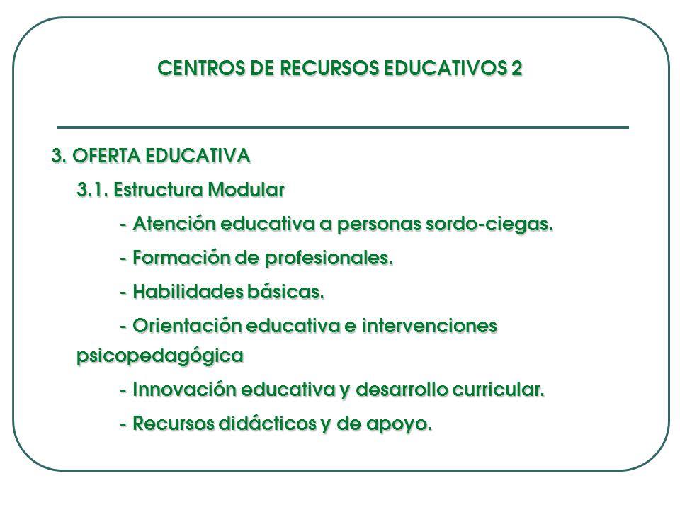 CENTROS DE RECURSOS EDUCATIVOS 2 3.OFERTA EDUCATIVA 3.1.
