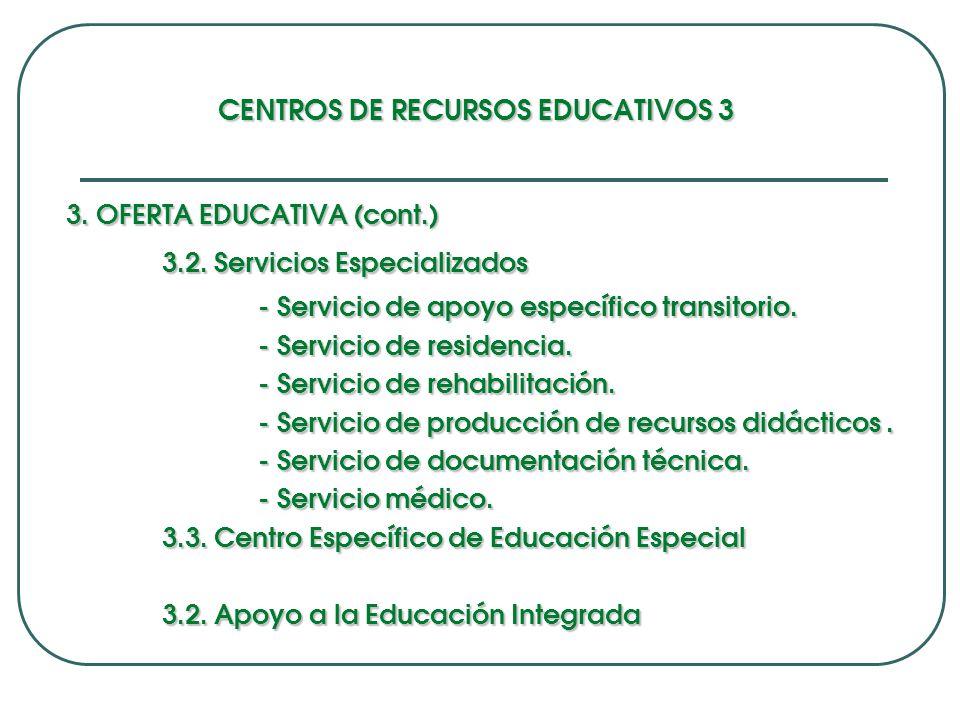 CENTROS DE RECURSOS EDUCATIVOS 3 3.OFERTA EDUCATIVA (cont.) 3.2.