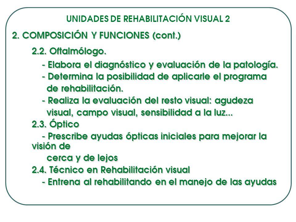 UNIDADES DE REHABILITACIÓN VISUAL 2 2.COMPOSICIÓN Y FUNCIONES (cont.) 2.2.