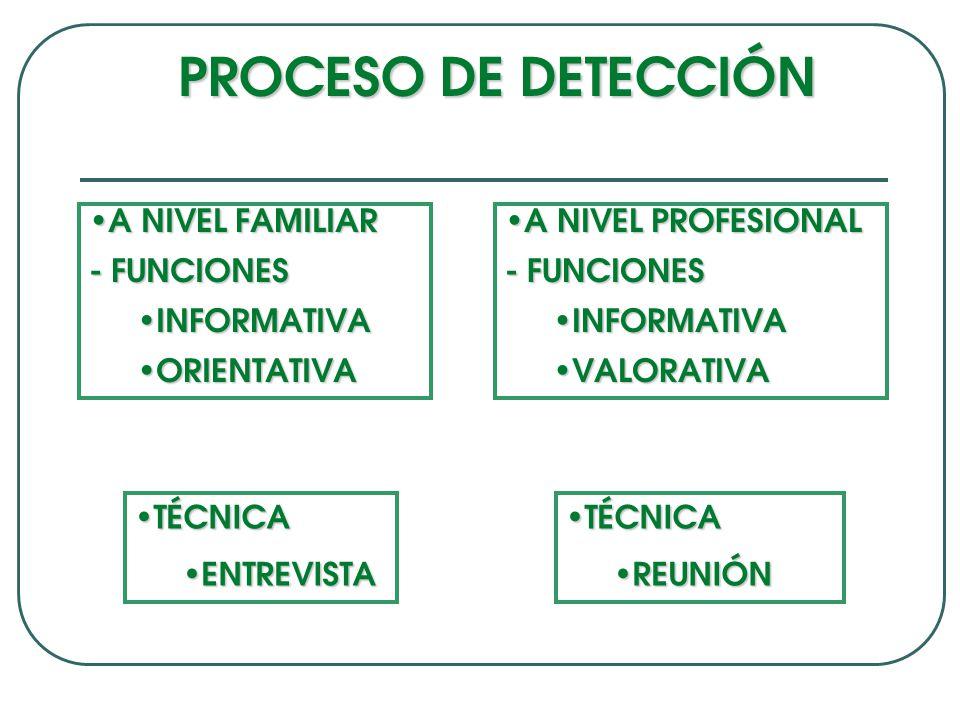PROCESO DE DETECCIÓN A NIVEL FAMILIAR A NIVEL FAMILIAR - FUNCIONES INFORMATIVA INFORMATIVA ORIENTATIVA ORIENTATIVA A NIVEL PROFESIONAL A NIVEL PROFESIONAL - FUNCIONES INFORMATIVA INFORMATIVA VALORATIVA VALORATIVA TÉCNICA TÉCNICA ENTREVISTA ENTREVISTA TÉCNICA TÉCNICA REUNIÓN REUNIÓN