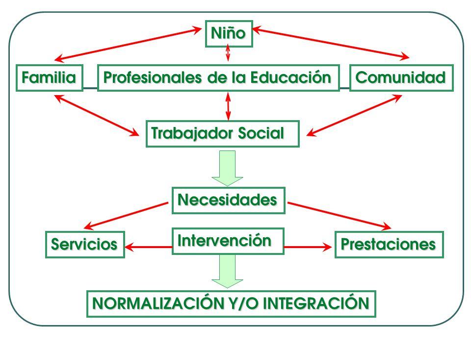 Niño Familia Profesionales de la Educación Comunidad Trabajador Social Necesidades Servicios Intervención Prestaciones NORMALIZACIÓN Y/O INTEGRACIÓN