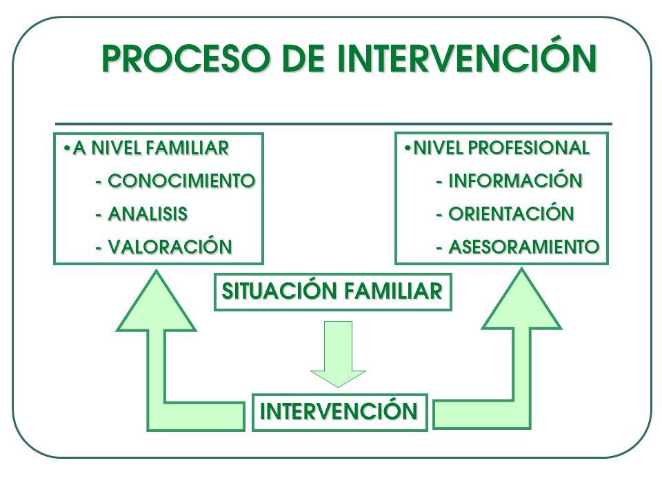 PROCESO DE INTERVENCIÓN A NIVEL FAMILIAR A NIVEL FAMILIAR - CONOCIMIENTO - ANALISIS - VALORACIÓN NIVEL PROFESIONAL NIVEL PROFESIONAL - INFORMACIÓN - ORIENTACIÓN - ASESORAMIENTO SITUACIÓN FAMILIAR INTERVENCIÓN