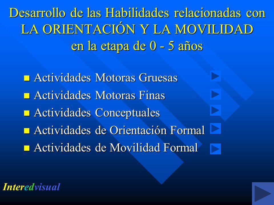 Desarrollo de las Habilidades relacionadas con LA ORIENTACIÓN Y LA MOVILIDAD en la etapa de 0 - 5 años Actividades Motoras Gruesas Actividades Motoras Gruesas Actividades Motoras Finas Actividades Motoras Finas Actividades Conceptuales Actividades Conceptuales Actividades de Orientación Formal Actividades de Orientación Formal Actividades de Movilidad Formal Actividades de Movilidad Formal Interedvisual
