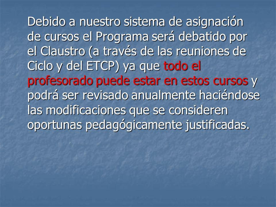 Debido a nuestro sistema de asignación de cursos el Programa será debatido por el Claustro (a través de las reuniones de Ciclo y del ETCP) ya que todo