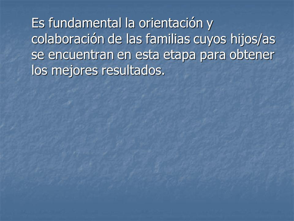 Es fundamental la orientación y colaboración de las familias cuyos hijos/as se encuentran en esta etapa para obtener los mejores resultados.