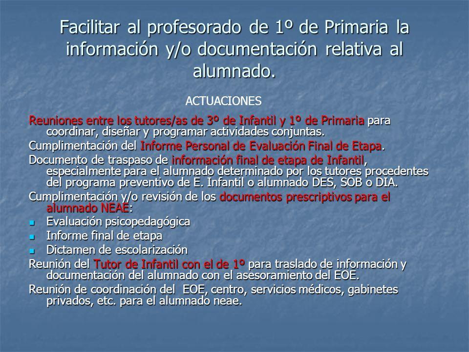 Facilitar al profesorado de 1º de Primaria la información y/o documentación relativa al alumnado. Reuniones entre los tutores/as de 3º de Infantil y 1