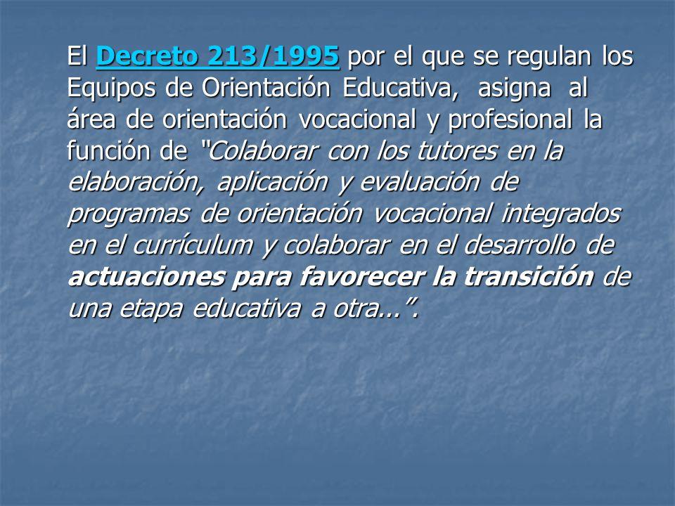 El Decreto 213/1995 por el que se regulan los Equipos de Orientación Educativa, asigna al área de orientación vocacional y profesional la función de C