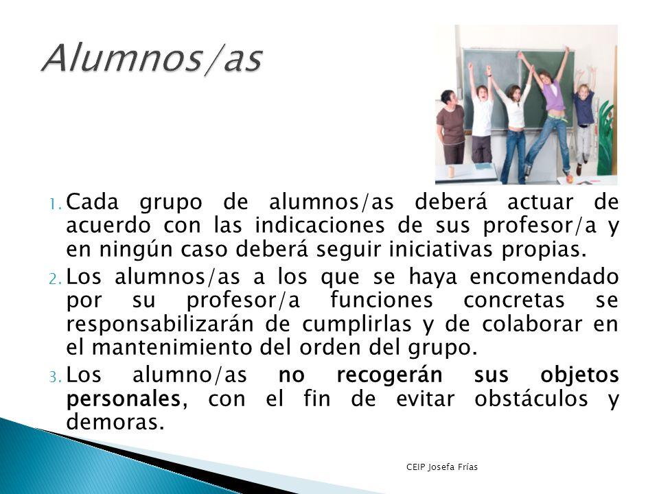 1. Responsable evacuación de alumnos/as con N.E.A.E que requieran ayuda. CEIP Josefa Frías