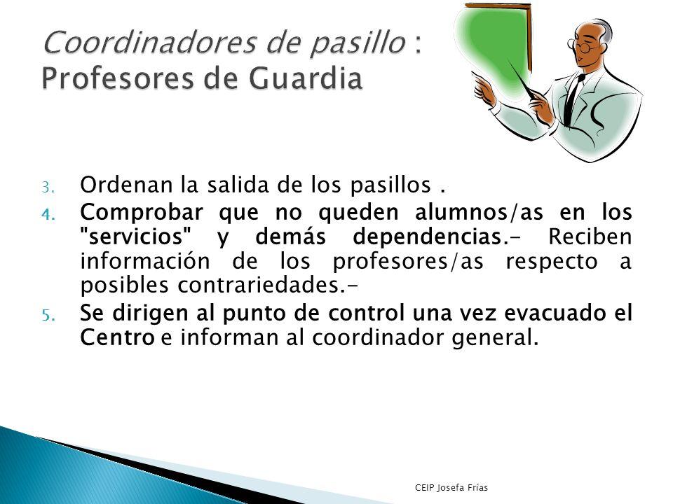 1. Coordinan la evacuación de los distintos pasillos: Se responsabilizarán de las acciones que se efectúen en cada pasillo y el número de alumnos/as d