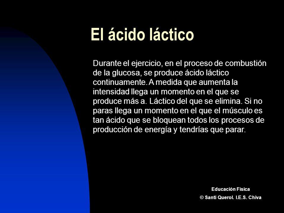 El ácido láctico Durante el ejercicio, en el proceso de combustión de la glucosa, se produce ácido láctico continuamente. A medida que aumenta la inte