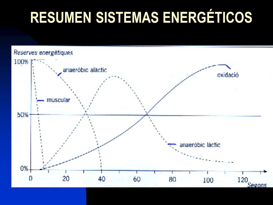 RESUMEN DURACIÓN FUENTES ENERGÉT.PROD. DESHECH SISTEMA 0 – 6 ATP muscular - ANAERÓB.