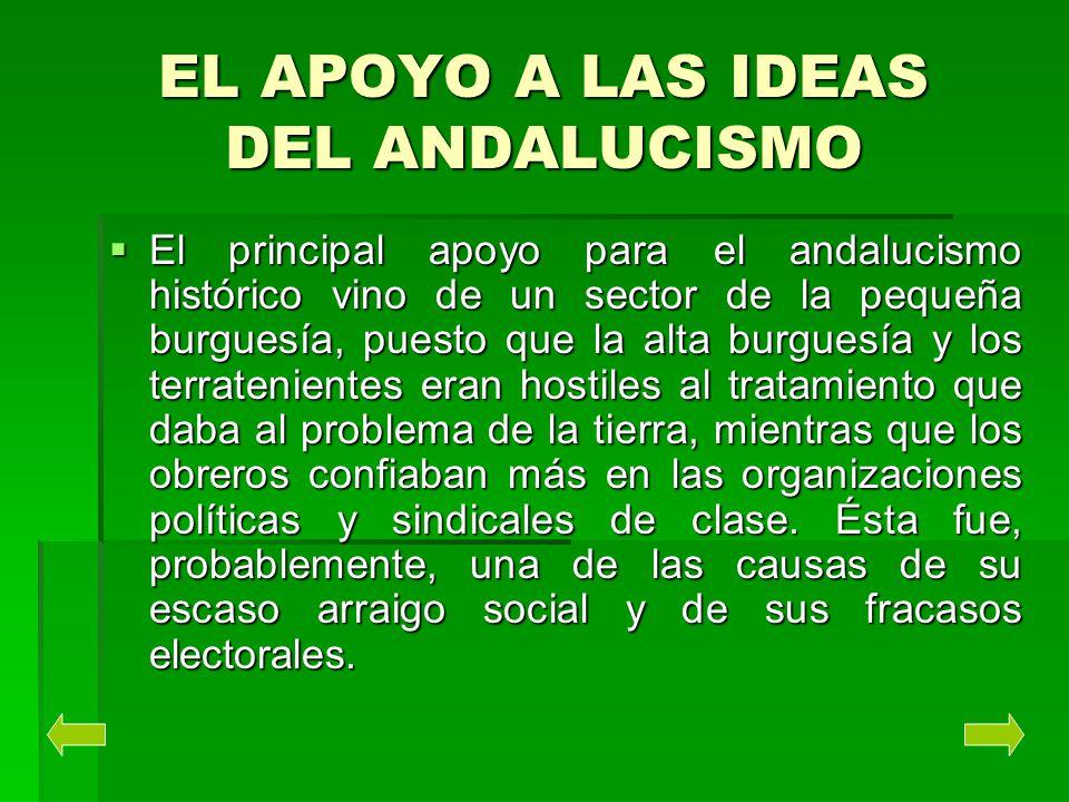 EL APOYO A LAS IDEAS DEL ANDALUCISMO El principal apoyo para el andalucismo histórico vino de un sector de la pequeña burguesía, puesto que la alta bu