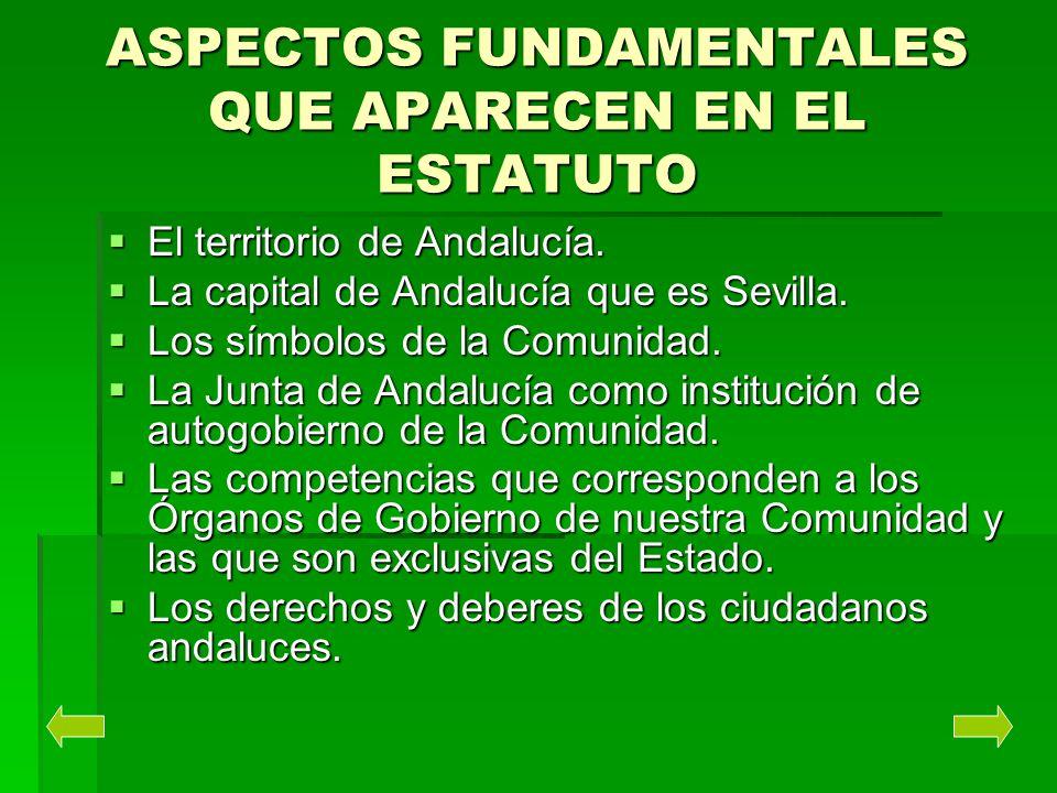 ASPECTOS FUNDAMENTALES QUE APARECEN EN EL ESTATUTO El territorio de Andalucía. El territorio de Andalucía. La capital de Andalucía que es Sevilla. La