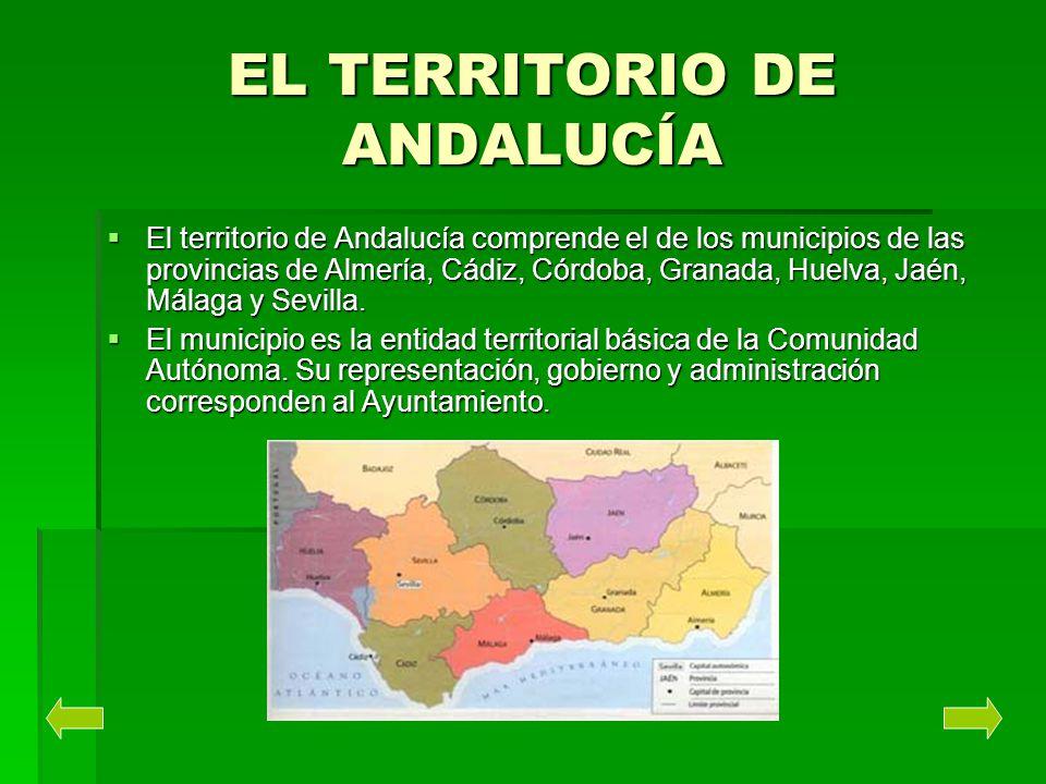 EL TERRITORIO DE ANDALUCÍA El territorio de Andalucía comprende el de los municipios de las provincias de Almería, Cádiz, Córdoba, Granada, Huelva, Ja