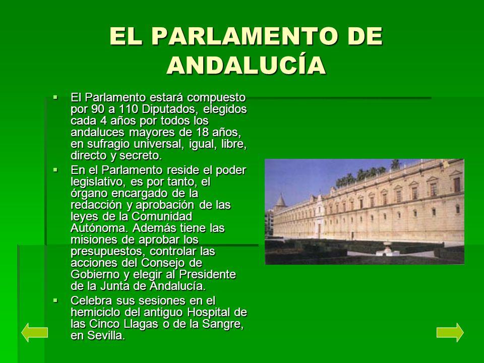 EL PARLAMENTO DE ANDALUCÍA El Parlamento estará compuesto por 90 a 110 Diputados, elegidos cada 4 años por todos los andaluces mayores de 18 años, en