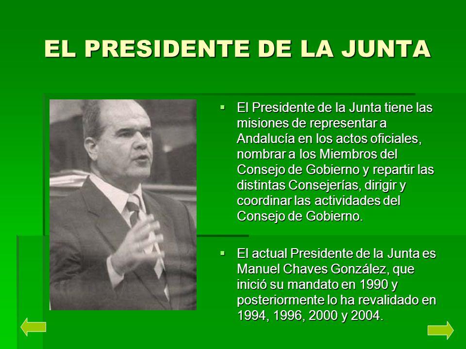 EL PRESIDENTE DE LA JUNTA El Presidente de la Junta tiene las misiones de representar a Andalucía en los actos oficiales, nombrar a los Miembros del C