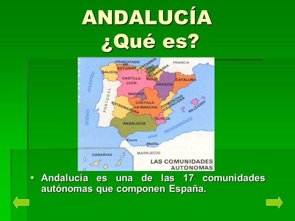 ANDALUCÍA ¿Qué es? Andalucía es una de las 17 comunidades autónomas que componen España. Andalucía es una de las 17 comunidades autónomas que componen