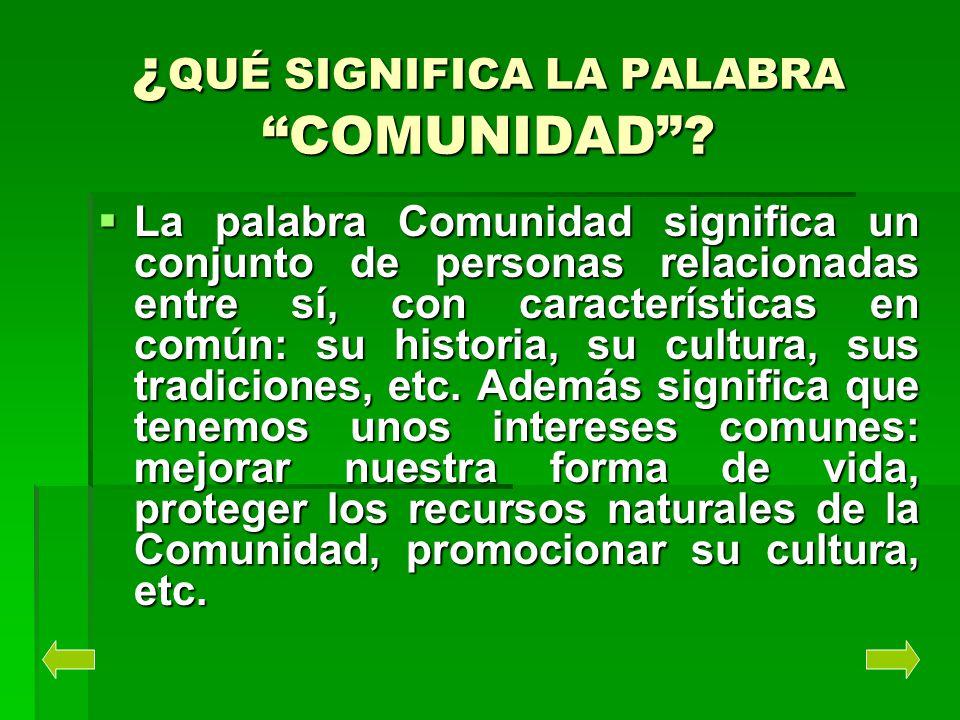¿QUÉ SIGNIFICA LA PALABRA COMUNIDAD? La palabra Comunidad significa un conjunto de personas relacionadas entre sí, con características en común: su hi