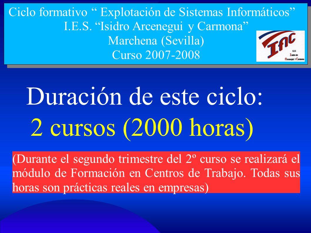 Ciclo formativo Explotación de Sistemas Informáticos I.E.S. Isidro Arcenegui y Carmona Marchena (Sevilla) Curso 2007-2008 Duración de este ciclo: 2 cu