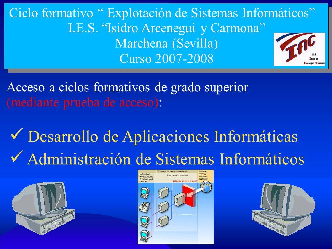 Ciclo formativo Explotación de Sistemas Informáticos I.E.S. Isidro Arcenegui y Carmona Marchena (Sevilla) Curso 2007-2008 Acceso a ciclos formativos d