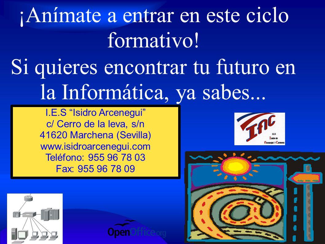 ¡Anímate a entrar en este ciclo formativo! Si quieres encontrar tu futuro en la Informática, ya sabes... I.E.S Isidro Arcenegui c/ Cerro de la leva, s