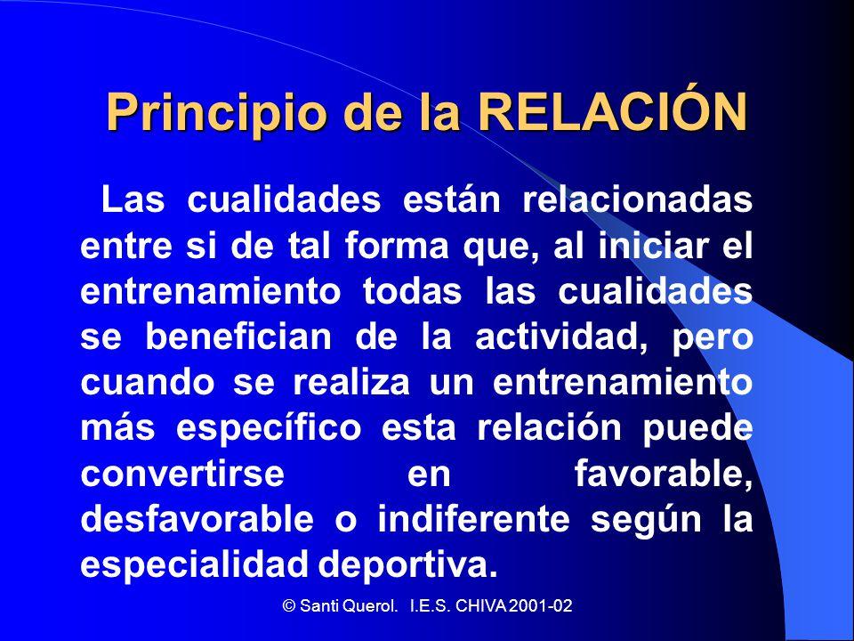 © Santi Querol. I.E.S. CHIVA 2001-02 Principio de la RELACIÓN Las cualidades están relacionadas entre si de tal forma que, al iniciar el entrenamiento