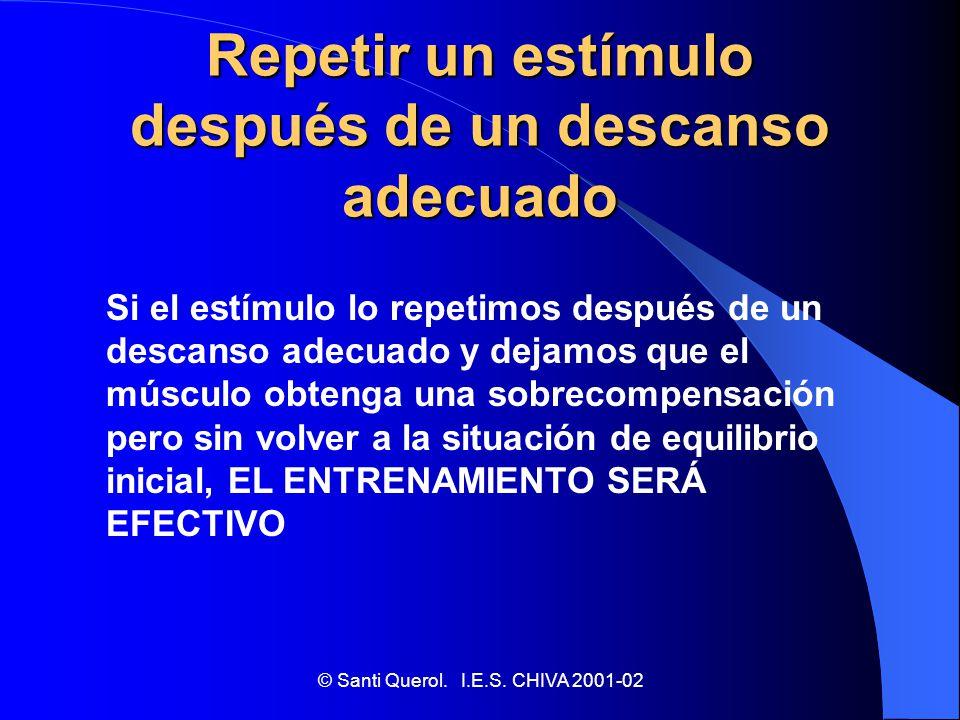 © Santi Querol. I.E.S. CHIVA 2001-02 EL ENTRENAMIENTO EFECTIVO