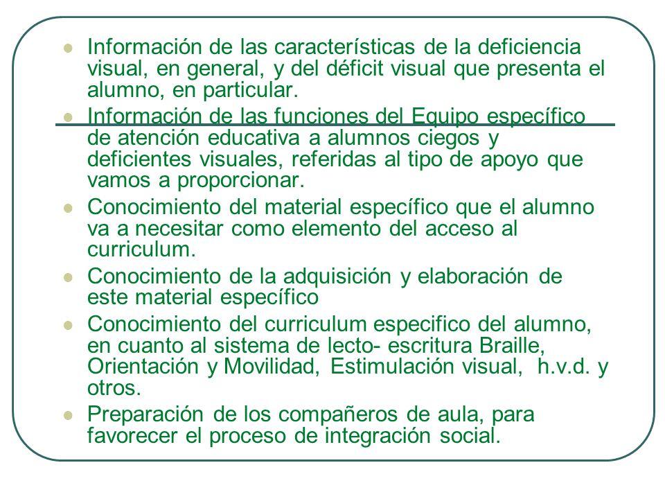 Información de las características de la deficiencia visual, en general, y del déficit visual que presenta el alumno, en particular. Información de la
