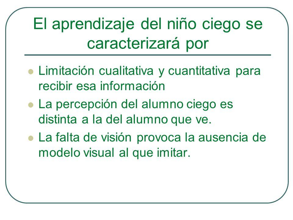 El aprendizaje del niño ciego se caracterizará por Limitación cualitativa y cuantitativa para recibir esa información La percepción del alumno ciego e