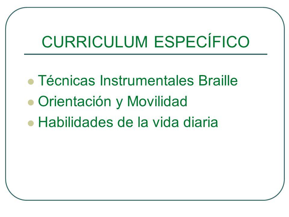 CURRICULUM ESPECÍFICO Técnicas Instrumentales Braille Orientación y Movilidad Habilidades de la vida diaria
