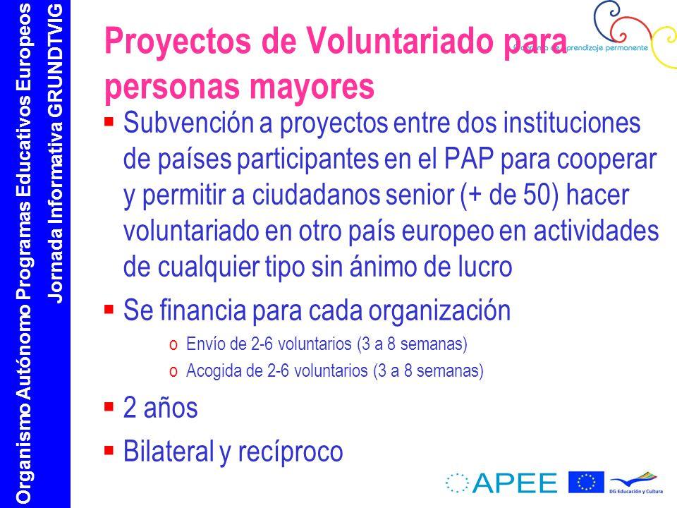 Organismo Autónomo Programas Educativos Europeos Jornada Informativa GRUNDTVIG Proyectos de Voluntariado para personas mayores Subvención a proyectos entre dos instituciones de países participantes en el PAP para cooperar y permitir a ciudadanos senior (+ de 50) hacer voluntariado en otro país europeo en actividades de cualquier tipo sin ánimo de lucro Se financia para cada organización oEnvío de 2-6 voluntarios (3 a 8 semanas) oAcogida de 2-6 voluntarios (3 a 8 semanas) 2 años Bilateral y recíproco