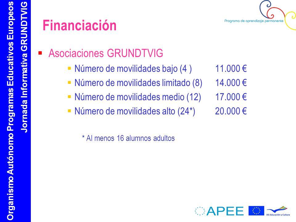 Organismo Autónomo Programas Educativos Europeos Jornada Informativa GRUNDTVIG Financiación Asociaciones GRUNDTVIG Número de movilidades bajo (4 ) 11.000 Número de movilidades limitado (8)14.000 Número de movilidades medio (12) 17.000 Número de movilidades alto (24*)20.000 * Al menos 16 alumnos adultos