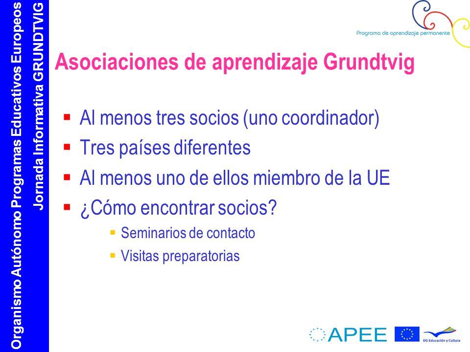 Organismo Autónomo Programas Educativos Europeos Jornada Informativa GRUNDTVIG Asociaciones de aprendizaje Grundtvig Al menos tres socios (uno coordinador) Tres países diferentes Al menos uno de ellos miembro de la UE ¿Cómo encontrar socios.
